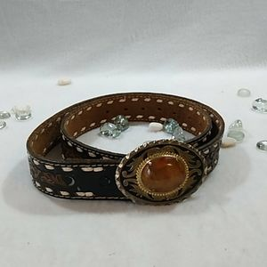 Hand-Tooled Brown Leather Belt Stone Buckle